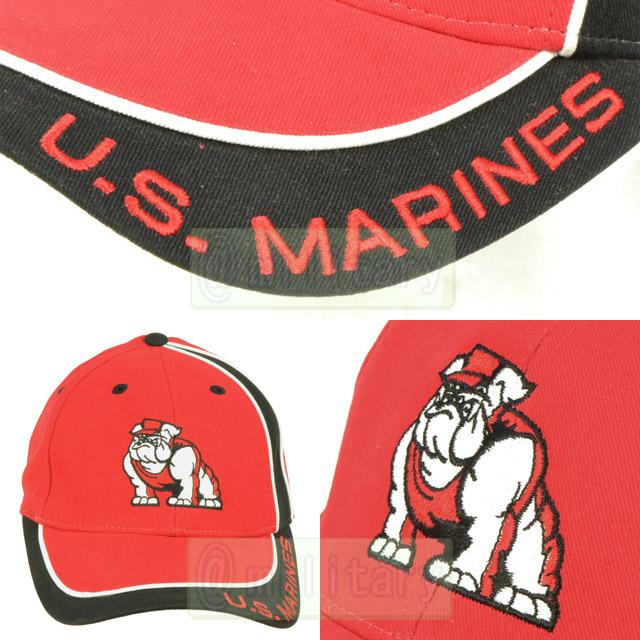 U.S.MARINES,海兵隊,ブルドッグ,デビルドッグ,帽子,ベースボール,キャップ,赤,レッド,米軍,